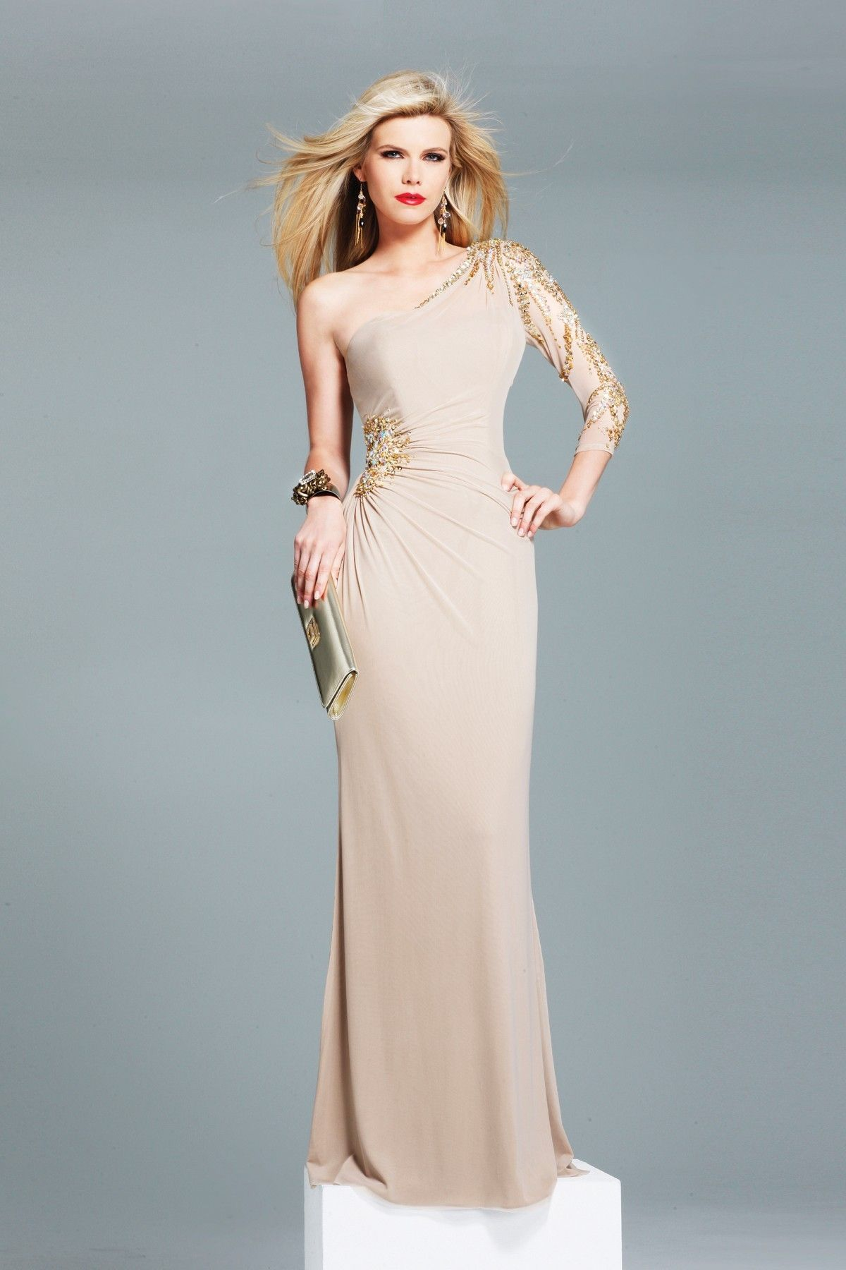 One Sleeve Long Prom Dresses | Dresscab | Long Sleeve Dresses ...