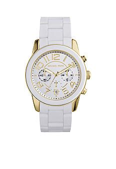 3a984737d126 Michael Kors Women s Mid-Size White Silicone and Gold Tone Stainless Steel  Mercer Chronograph Watch  Belk  White  MichaelKors