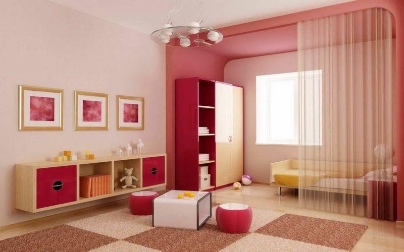 eine einfache raumteiler idee ist ein vorhang im kinderzimmer - Raumtrennvorhnge