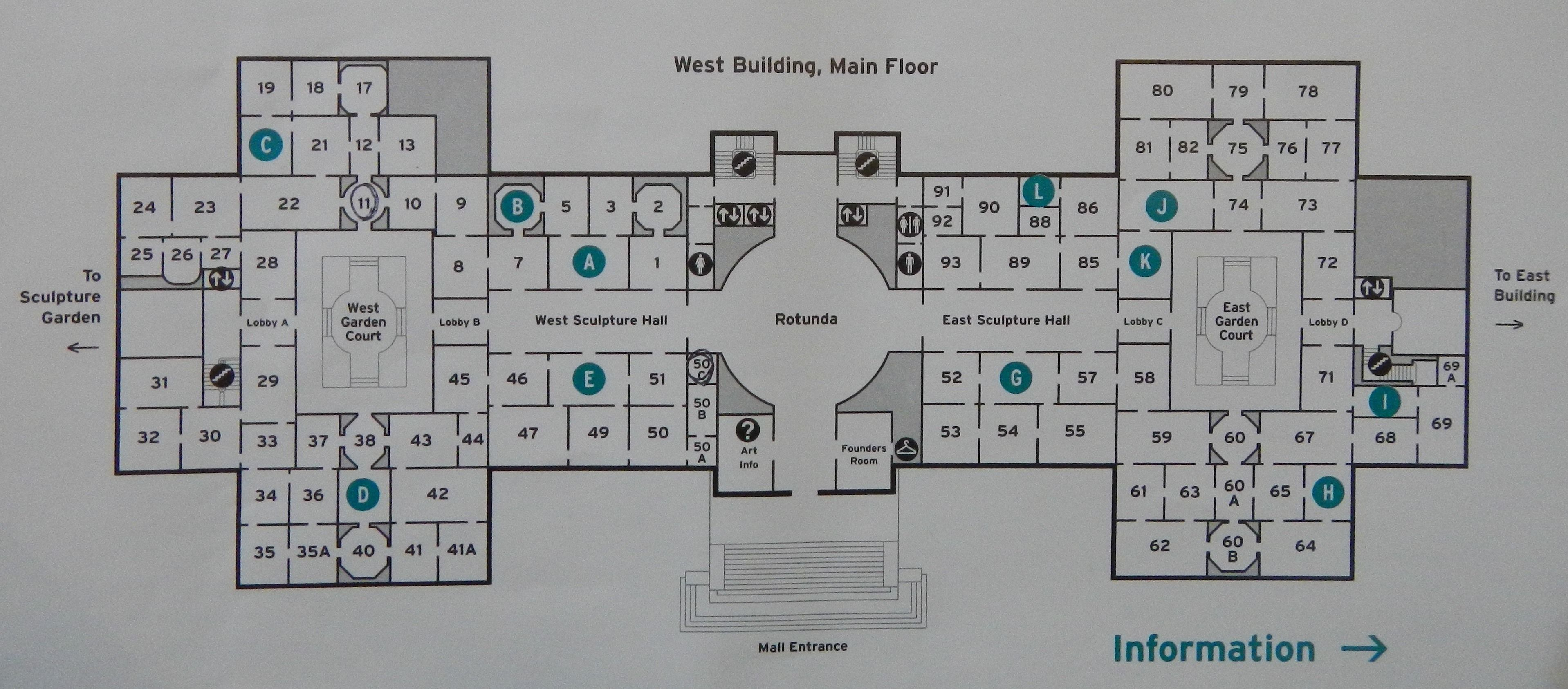 National Of Art - West Building Map- Washington Dc