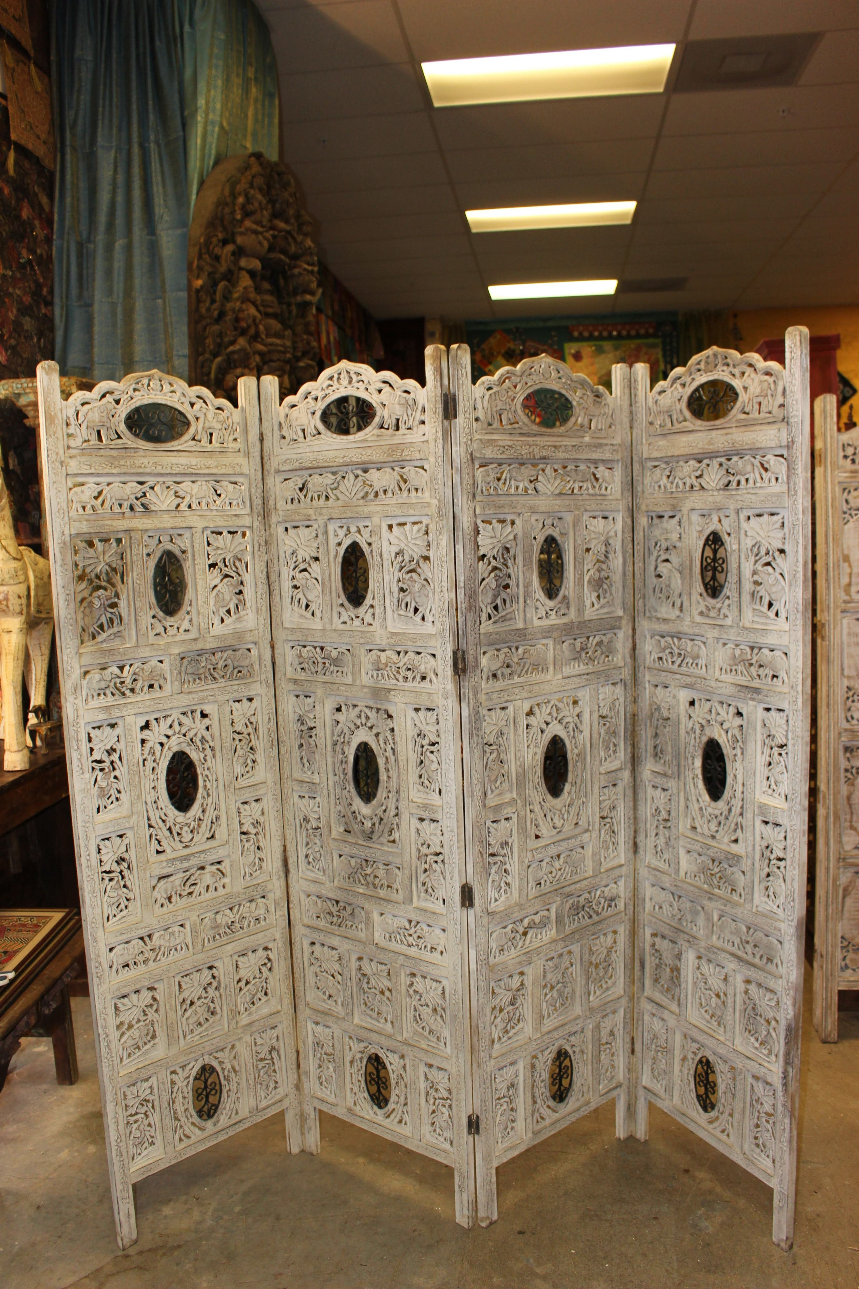 5d71e558793e7 The screen has Four panels Solid wood painted in a White antique rustic  finish.Handmade handcarved room divider screen.