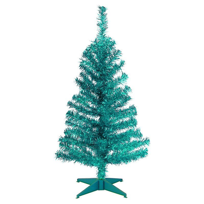 national tree company 3 ft tinsel artificial christmas tree floor decor turquoise - National Christmas Tree Company