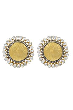 Golden Earring Tops With Kundan Stones Detailing Buy Artificial