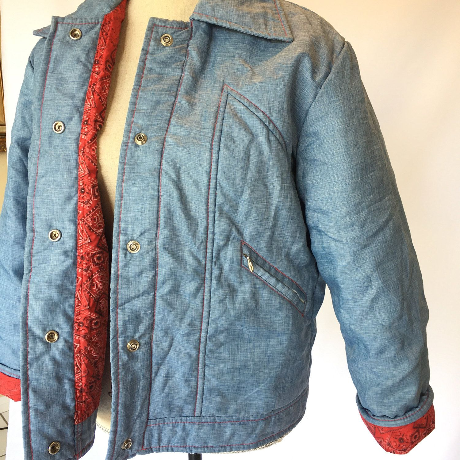 Chambray bandana reversible jacket puffy mens womens vintage red denim jean windbreaker ringer heavy red stitching pockets large XL sale rad by VELVETMETALVINTAGE on Etsy