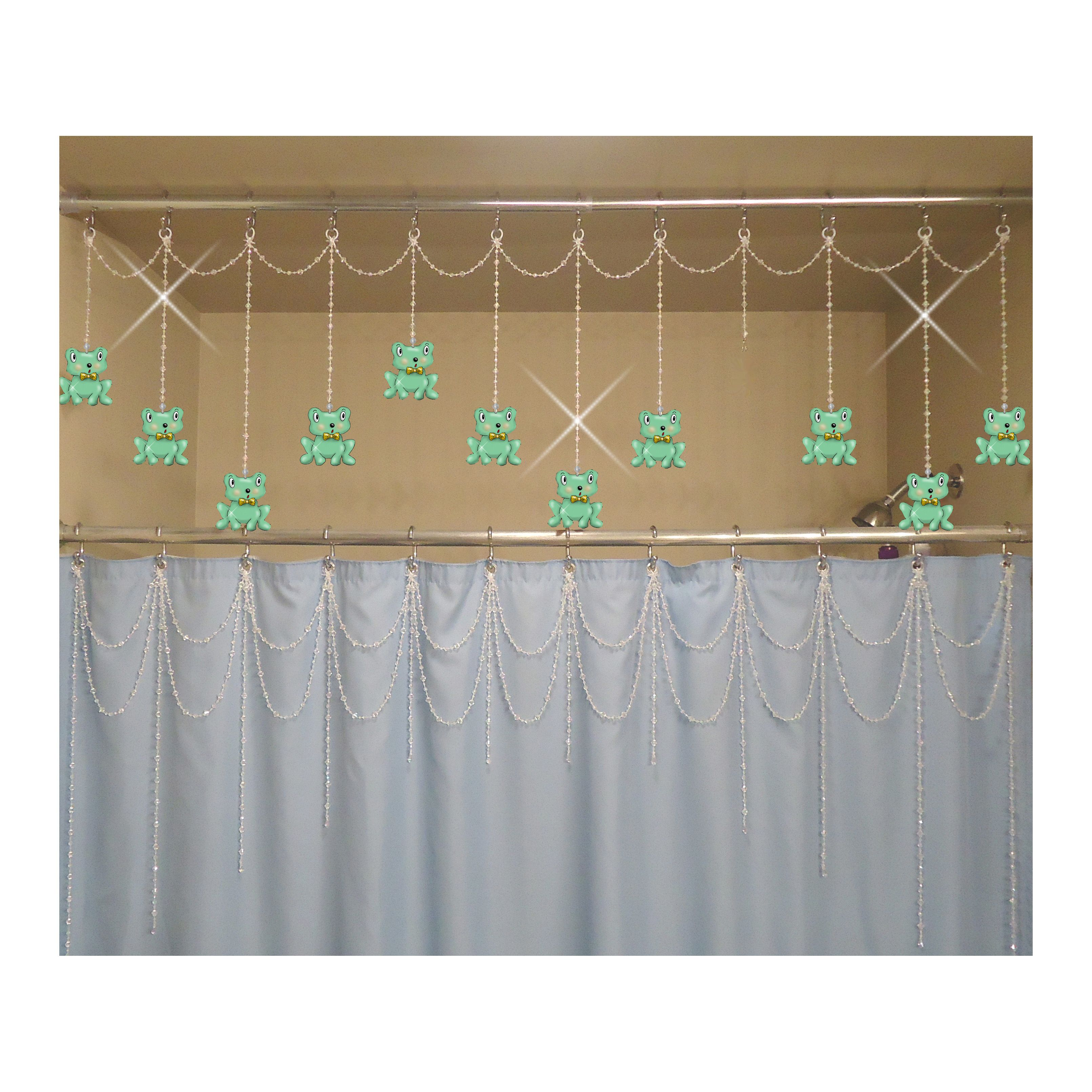 The newest innovation in bathroom decorating. Top: Bathtub/Shower Header Bling with Interchangeable Bling Charms. Froggies Bottom: Shower Curtain Bling Double Swag with Arched Strands. showercurtainbling.etsy