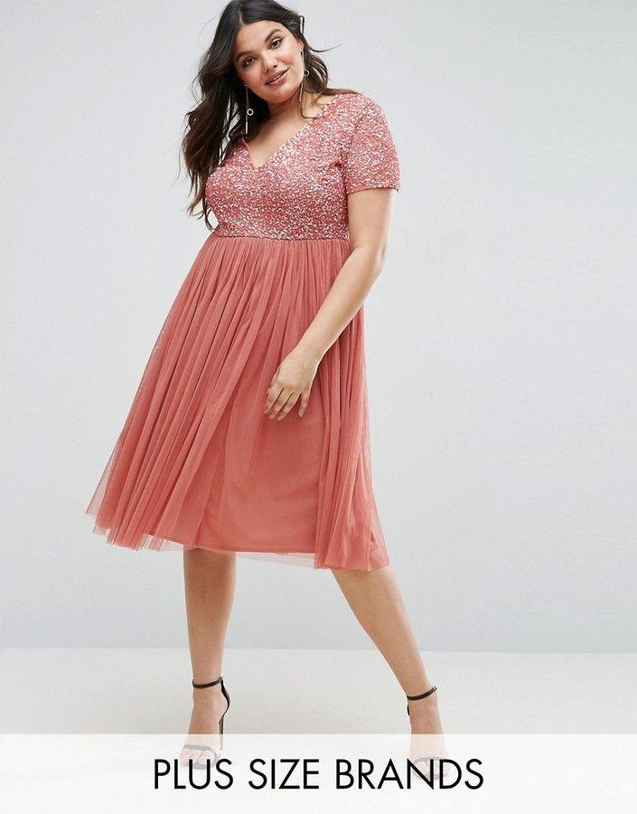 Lovedrobe Luxe Sequin Embellishment Midi Dress With Tulle Skirt ...