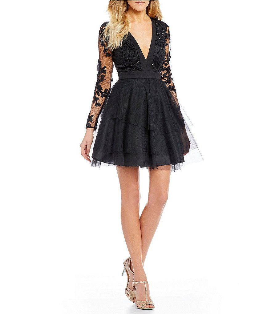 cb2d2a9b01b74 Dear Moon Long Sleeve Sequin-Lace Bodice Fit-And-Flare Dress ...