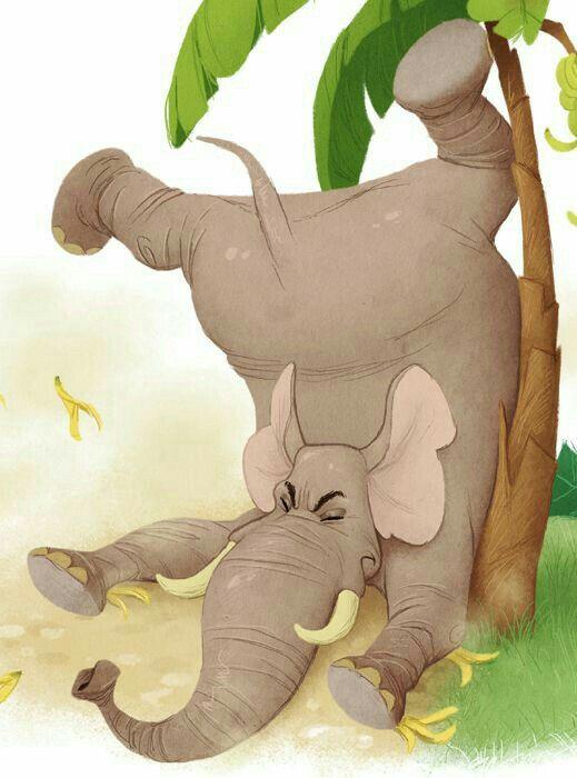 Дня, картинки слонов нарисованные прикольные