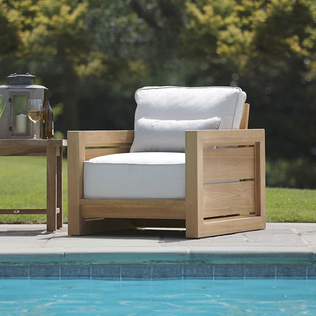 The No Nonsense Seats From Summer Classics Bali Collection Offer A Rustic Touch Of Elegant Symme Teak Patio Furniture Teak Lounge Chair Rustic Patio Furniture