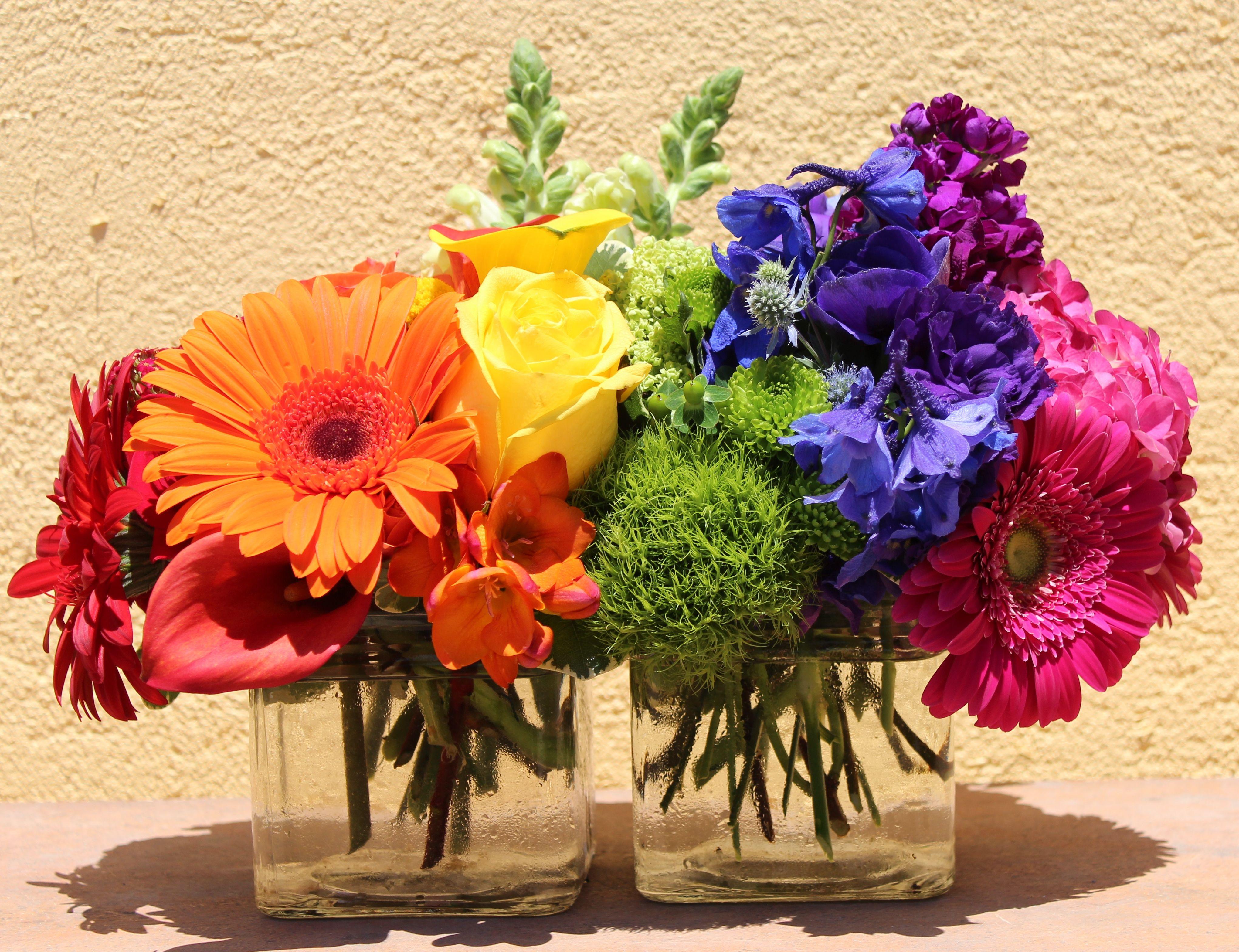 Summer wedding flowers. Rainbow flower arrangement
