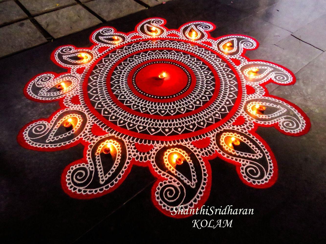 Mandala Red White Rangoli Designs Rangoli Designs Flower Rangoli Patterns