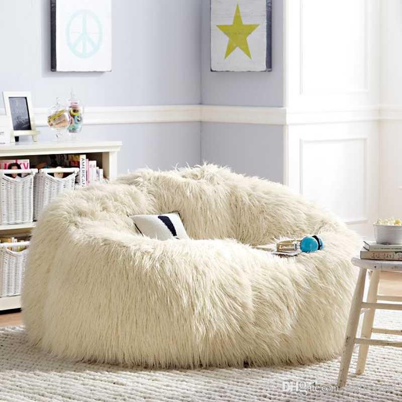 Free Shipping Sofa Set Living Room Furniture Luxe Bean Bag Faux Fur Outdoor Long
