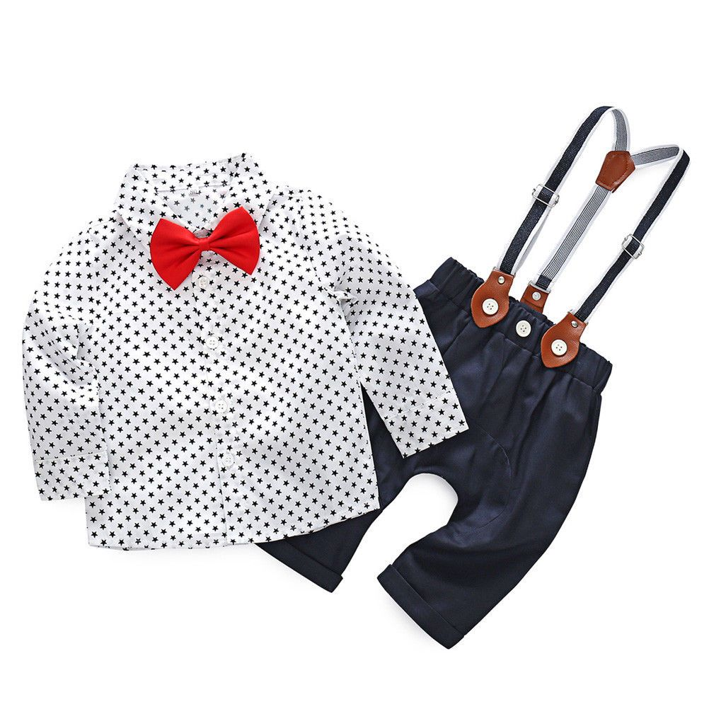 Kids Baby Boys 1st 2nd Birthday Bow Tie Shirt Tops+Suspender Pants 2Pcs Outfits