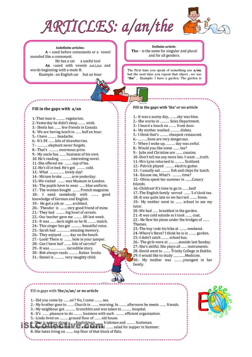 Worksheet Use Of A An The Worksheets worksheets on present perfect spanish google search 3 here you have some exercises to practise the use of definite and indefinite articles listening writing pre intermed