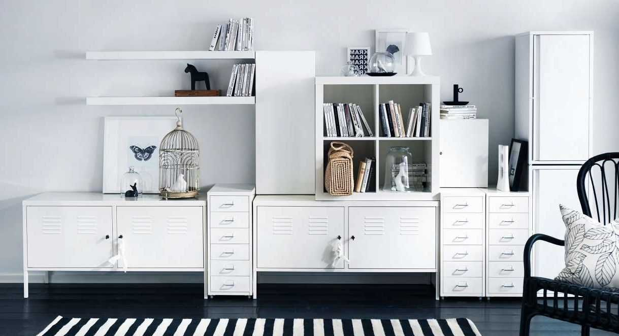 Beautiful White Living Room Storage Cabinets With Modern Design ...