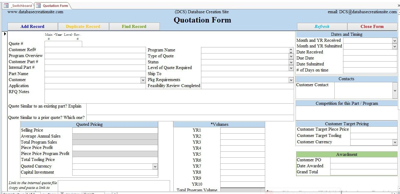 Quotation Form Enter Your Quote Details In This Customer Form