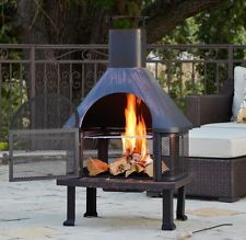 Outdoor Chiminea Fireplace Chimney Fire Pit Wood Outside Vintage Style Oven New