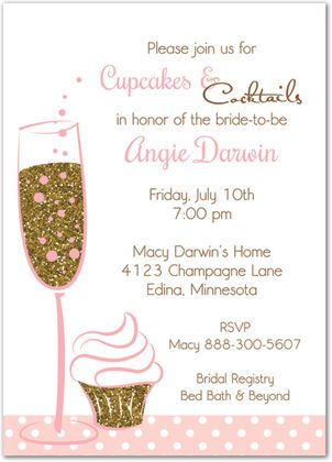 cupcakes cocktails gold glitter party shower invitations stationery invite