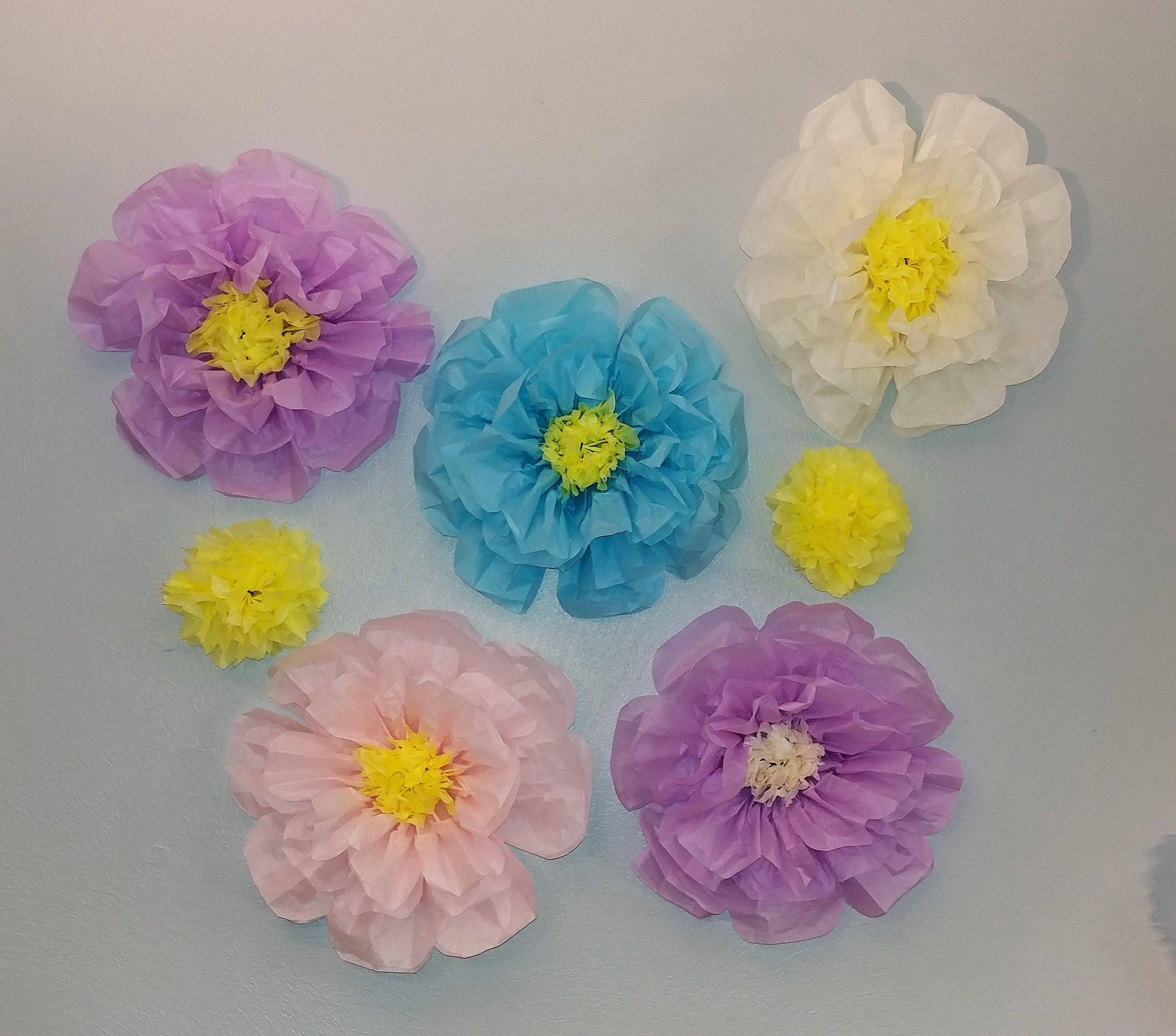 Diy paper flower wedding decorations  Handmade Spring Flowers Tissue Paper Flowers Wedding Decor Shower