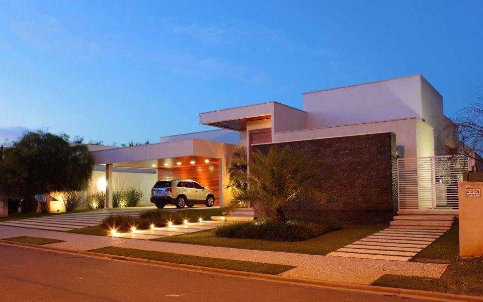 Fachadas de casas modernas veja modelos com vidro for Modelos de casas de una planta modernas