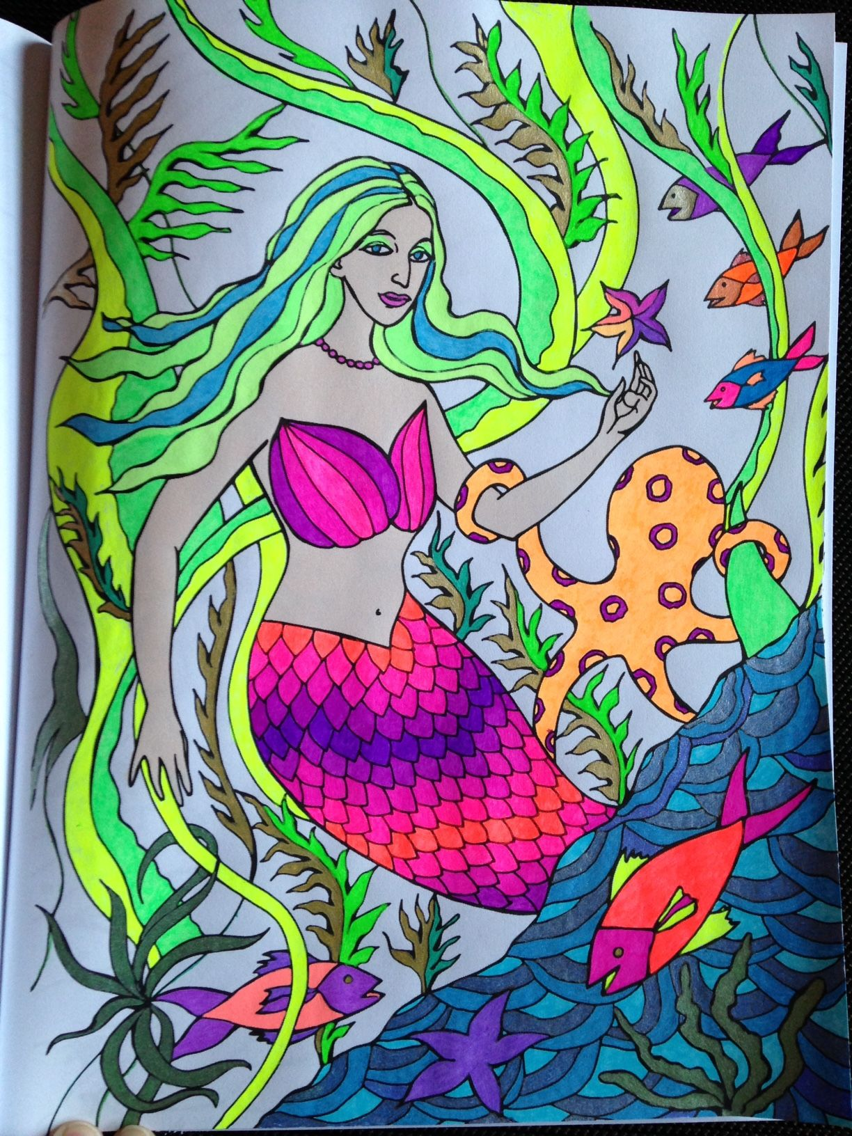 from The Mermaids of Quirly, illustrated by Sonal Panse. Colored by Michele using markers, alcohol markers and sparkle gels.