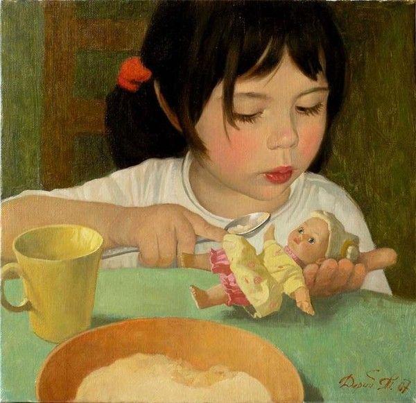Enfant en peinture