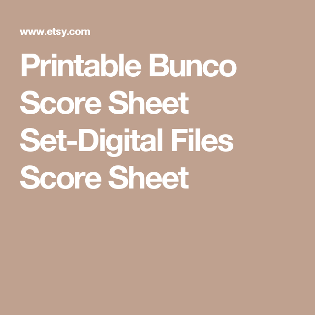 Printable Bunco Score Sheet SetDigital Files Score Sheet Table