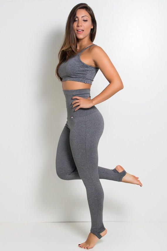 c660961c3b4a9 Heather Grey Extra High Waisted Stirrup Leggings Yoga Pants Brazilian  Workout Activewear Shapewear