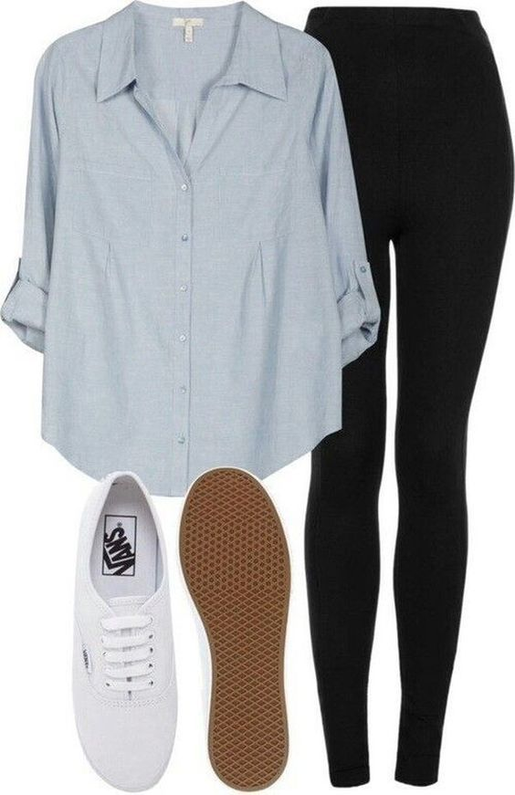 2b8aadf206 Outfit idea: light chambray/denim shirt, white sneakers, and black leggings!