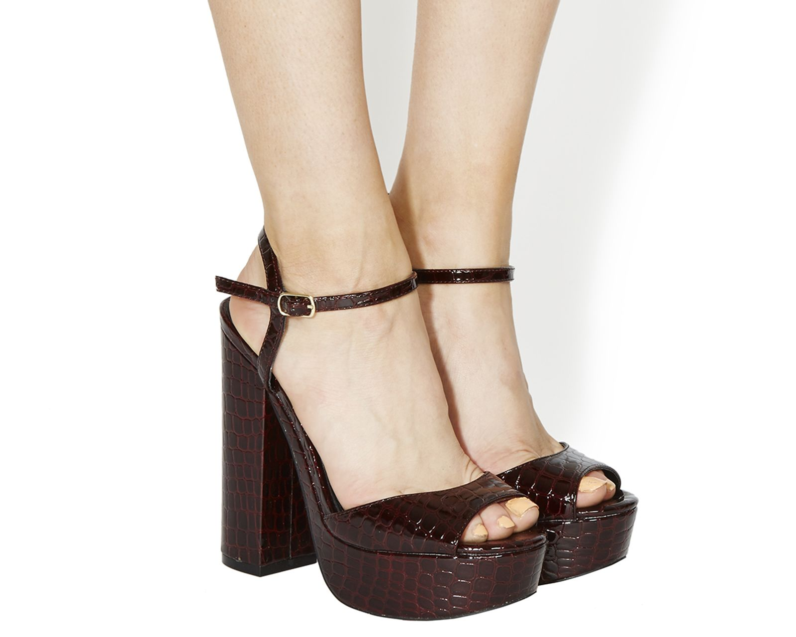 Office Twin 2 Part Platforms Burgundy Croc - High Heels