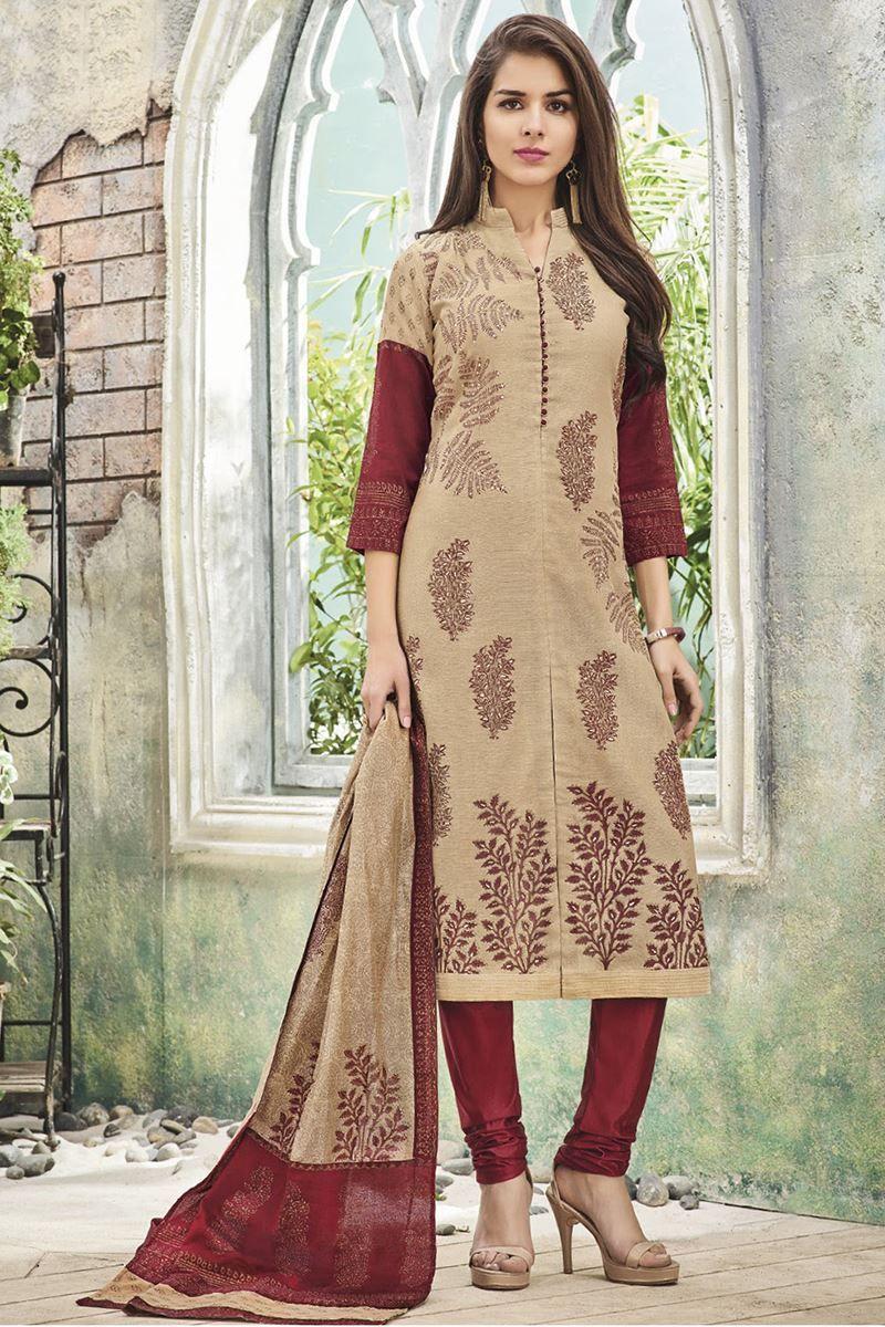 Picture of stylish beige u maroon designer suit sunitha