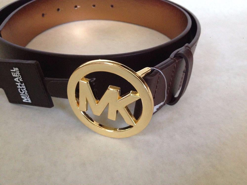 Michael Kors Women's Leather Tan Lugggage MK Logo Gold Buckle Belt L 551337  $55