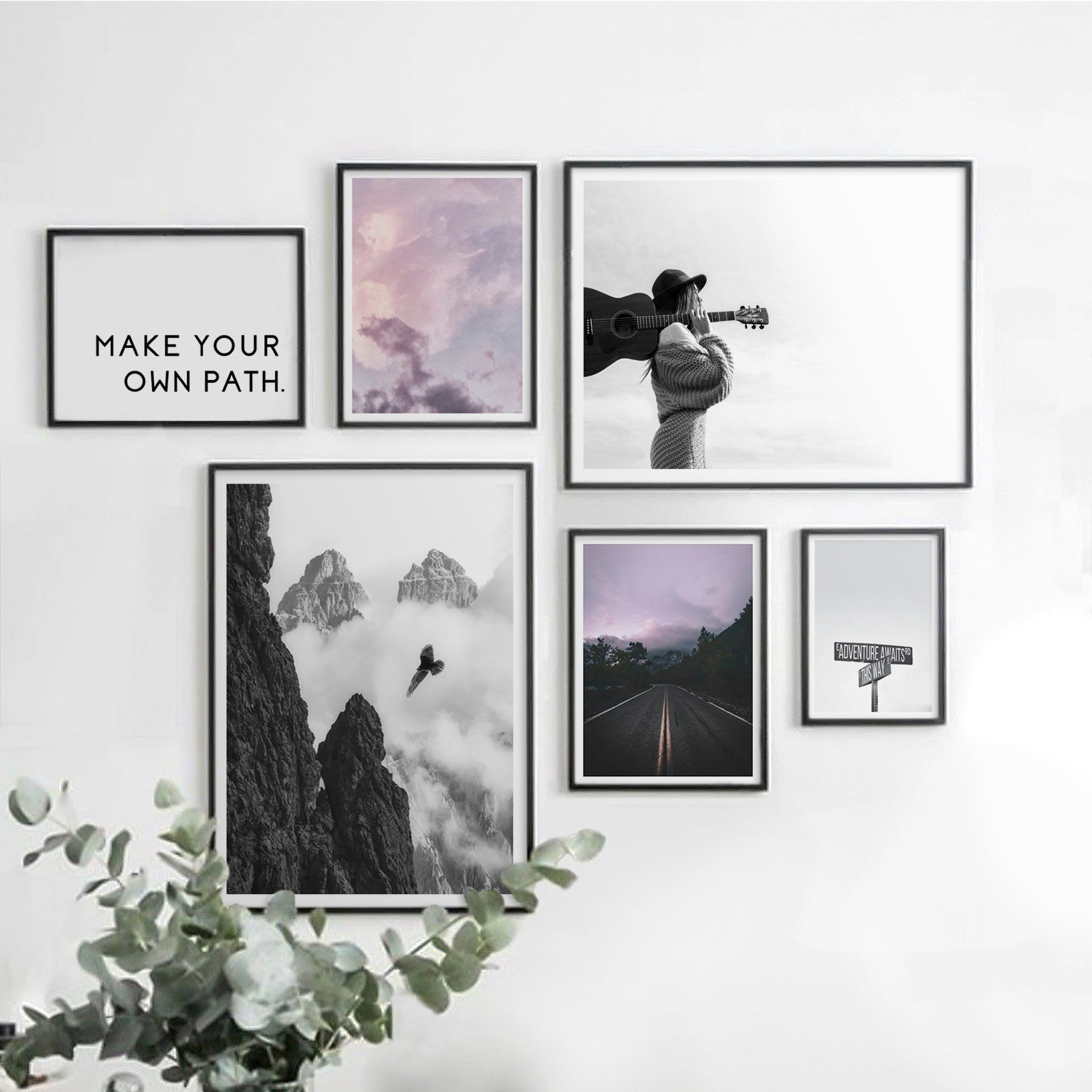 Prints Wall Art Set Of 6 Prints Gallery Wall Decor Photography Print Travel Quotes Downloadable Art Inspirat Wall Gallery Gallery Wall Decor Home Wall Decor