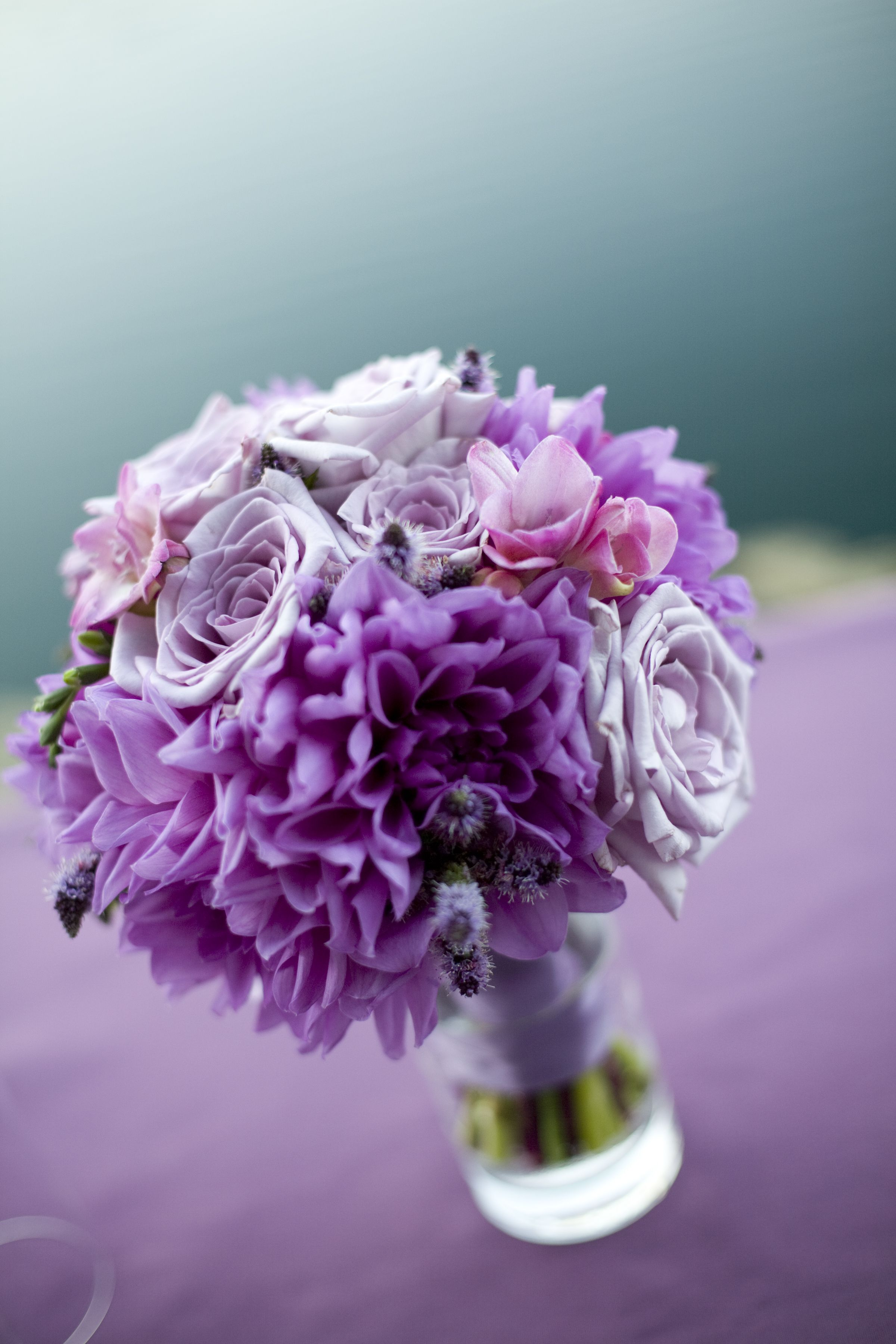 Roses In Garden: Bridesmaid Bouquet In Vase, In Lavenders And Purples