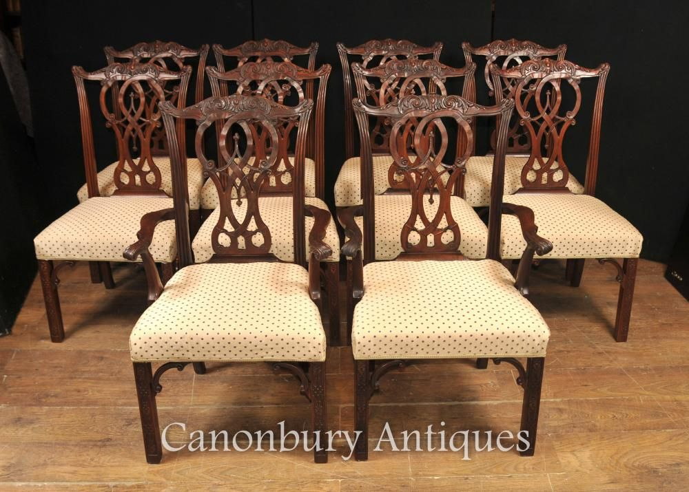 Chippendale Dining Room Amusing Set 10 Mahogany Chippendale Dining Chairs English Furniture Decorating Inspiration