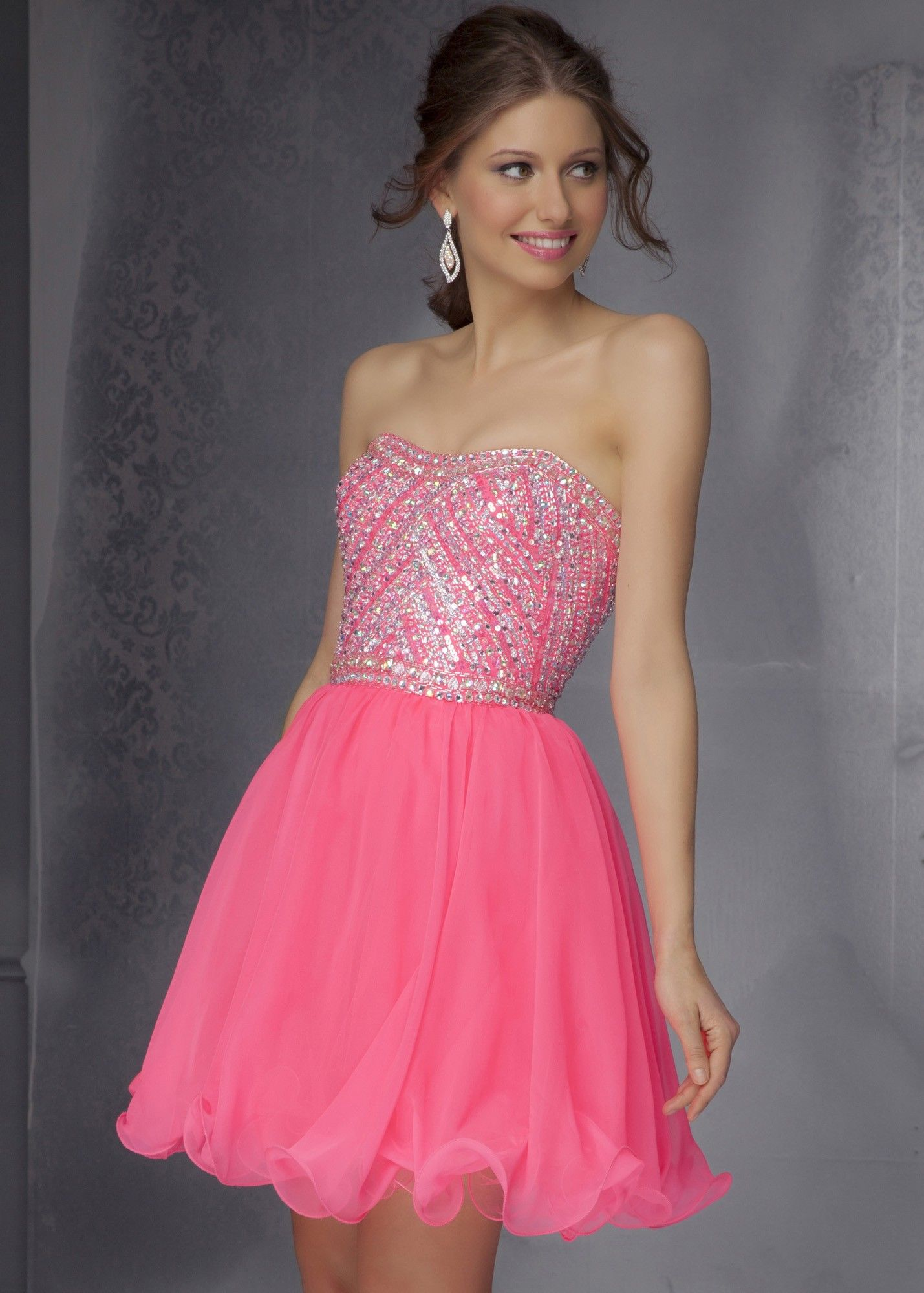Sticks & Stones by Mori Lee 9282 Neon Pink Party Dress ...