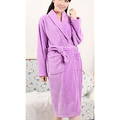Bath Robe,High-class Woman Purple Decorative Collar Garment Thicken – USD $ 19.99