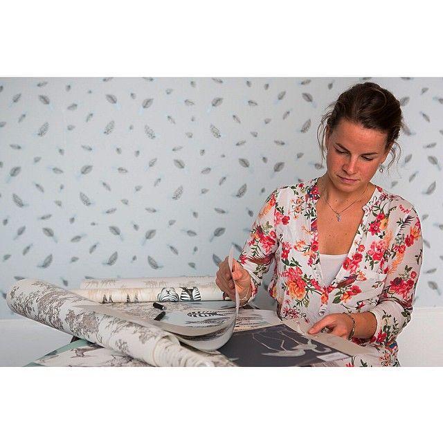 Studio snapshot - working on a scheme for a clients bedroom. #wallpaper #wallcoverings #studio #inspiration #interiordesign #bedroom #fabric #animalwallpaper #featherwallpaper #flamingos #flamingowallpaper