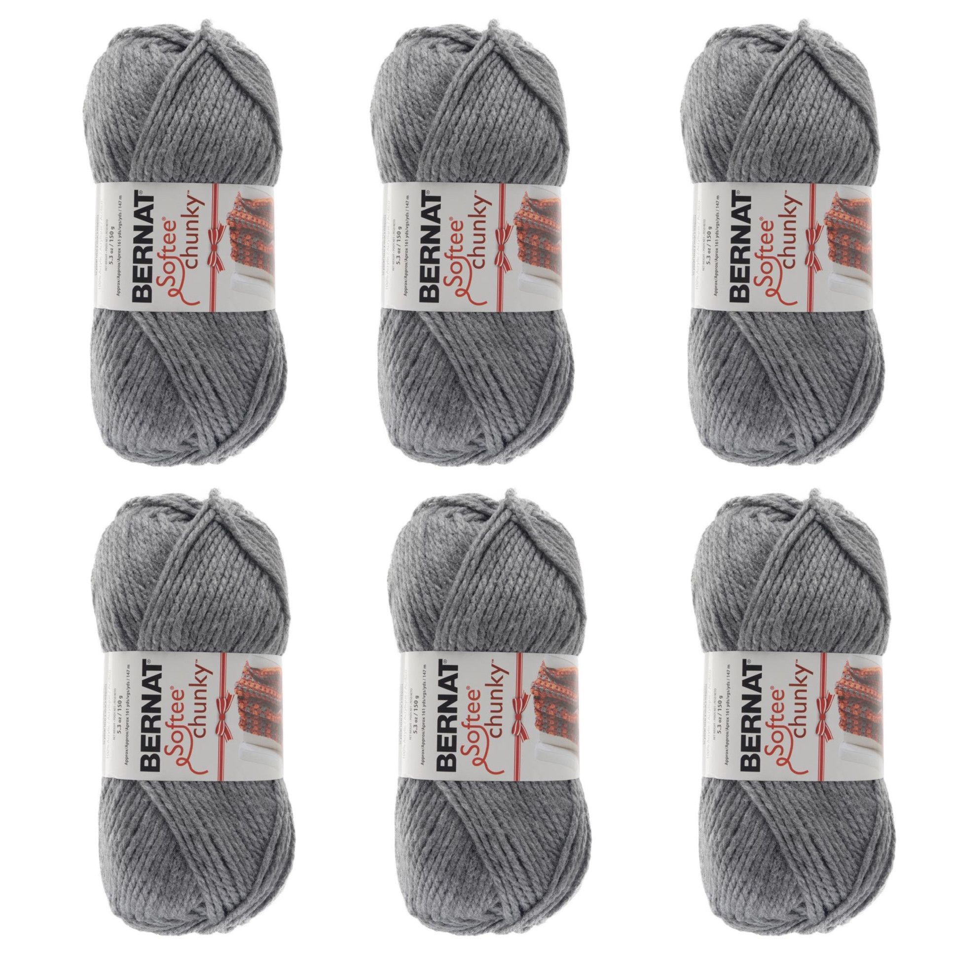 6 Skeins of Bernat Softee Chunky True Grey Yarn | Products | Pinterest