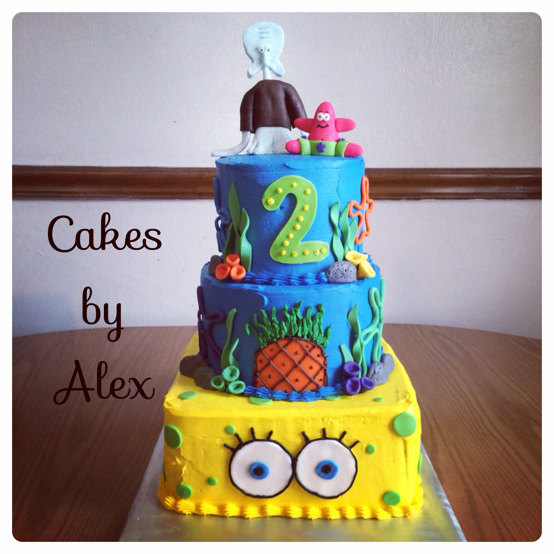 Spongebob tiered cake with buttercream Birthday Cakes Pinterest