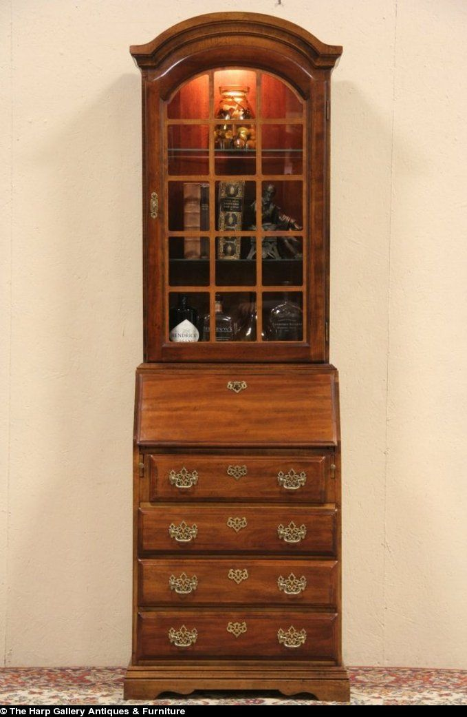sold cherry vintage secretary desk u0026 lighted bookcase harp gallery antique furniture