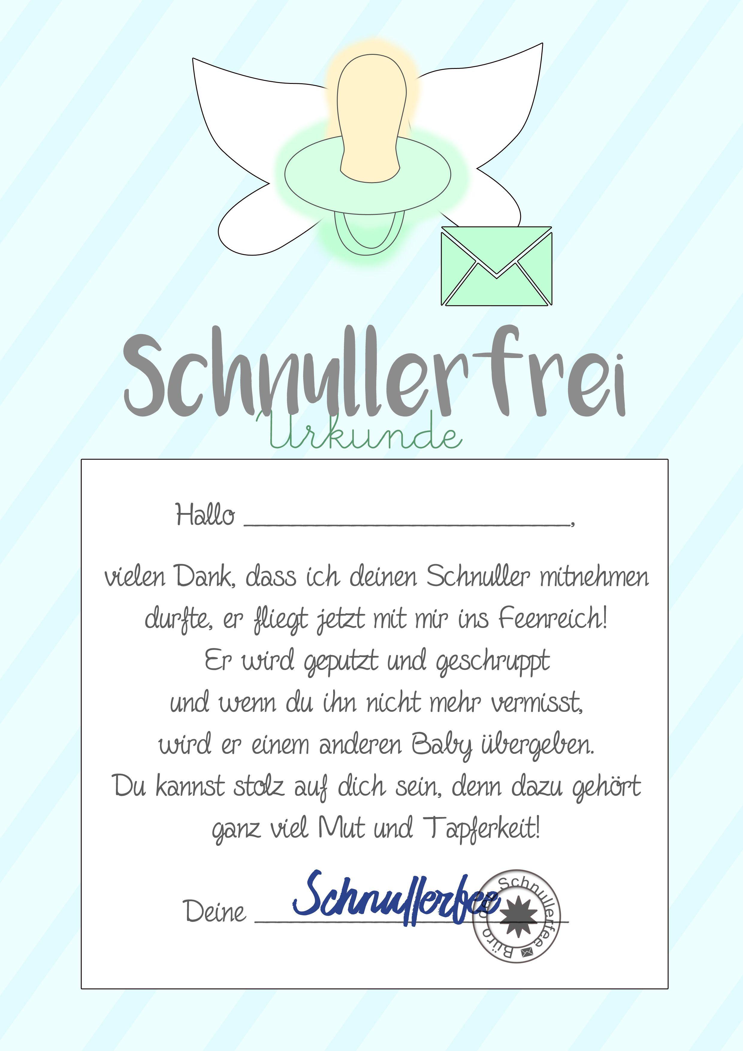 Schnullerfee Brief Vorlage zum Ausdrucken | Kostenlose druckvorlagen ...