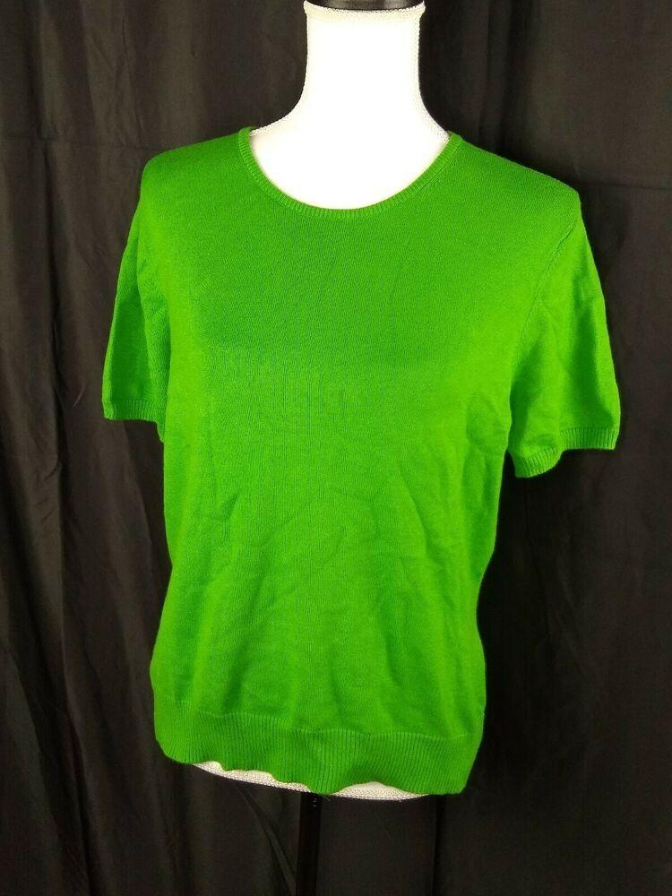 8e4818e7 Lands End Women's Medium 10-12 Green Short Sleeve Knit Blouse RN# 62830 # LandsEnd #Blouse #Casual