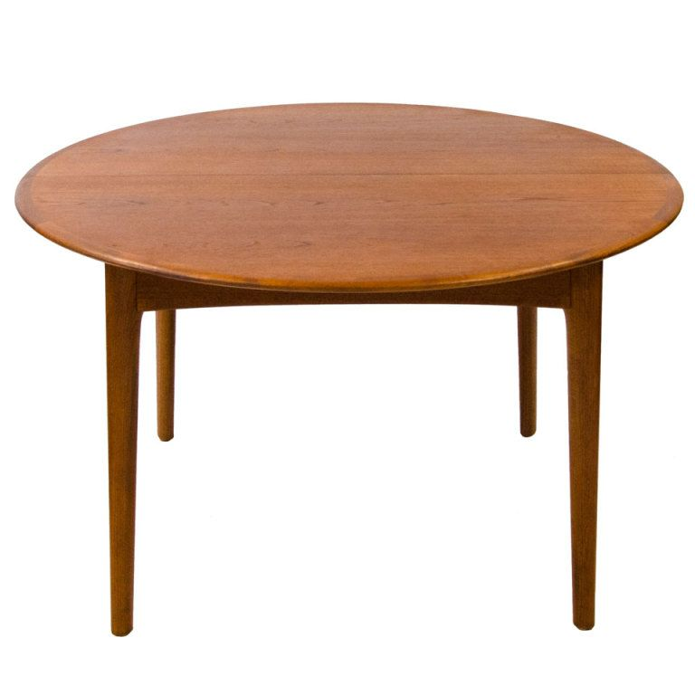 Round Teak Dining Table Danish Two Leaves From A Unique