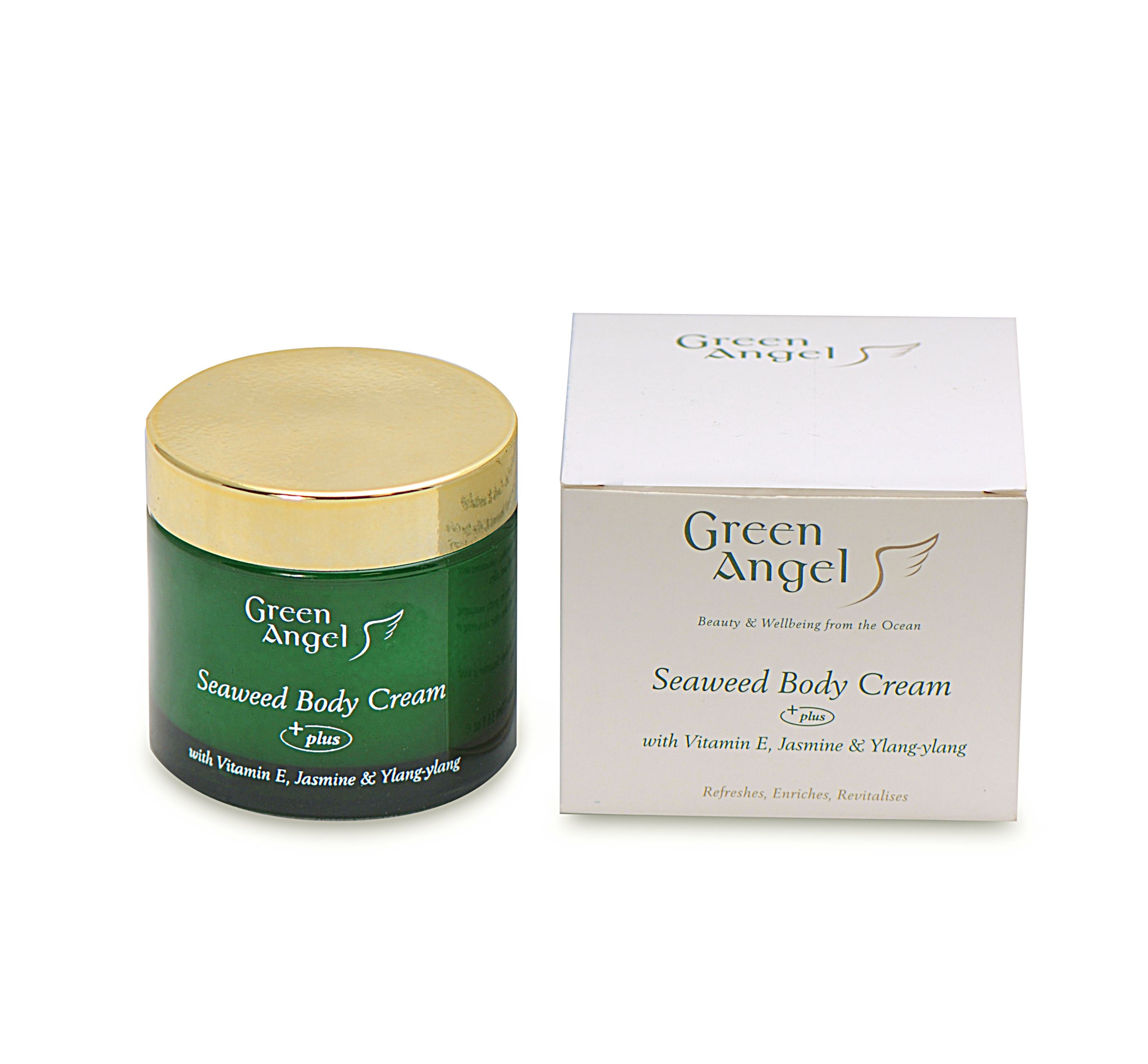 Seaweed Body Cream with Vitamin E, Jasmine & Ylang-ylang.Green Angel Pure indulgence Body cream is a unique product which has taken the therapeutic and rejuvenative benefits of Irish Seaweed and combined them with vitamin E and high quality essential oils such as Jasmine and Ylang-ylang each with their individual attributes to give a rich luxurious product.