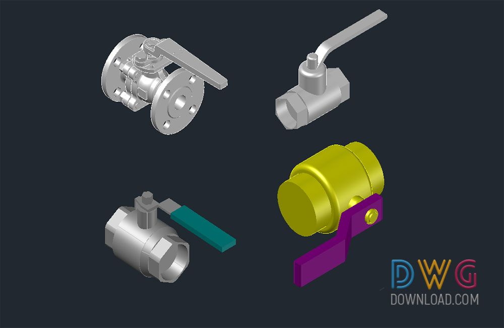 Pneumatic 3D Ball Valve Dwg Drawings  Includes 3D AutoCAD