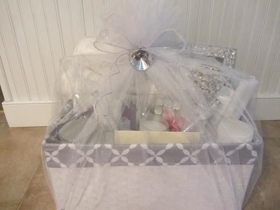 Wrap your bridal shower gift in style wraps gift and bridal showers gift basket wrapped in tulle netting negle Images