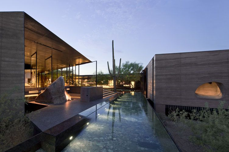 Desert courtyard house in Scottsdale, AZ by Wendell Burnette Architects and the construction zone