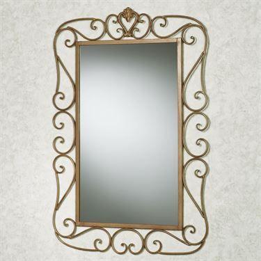 Aldabella Wall Mirror Satin Gold Dengan Gambar Cermin Pintu