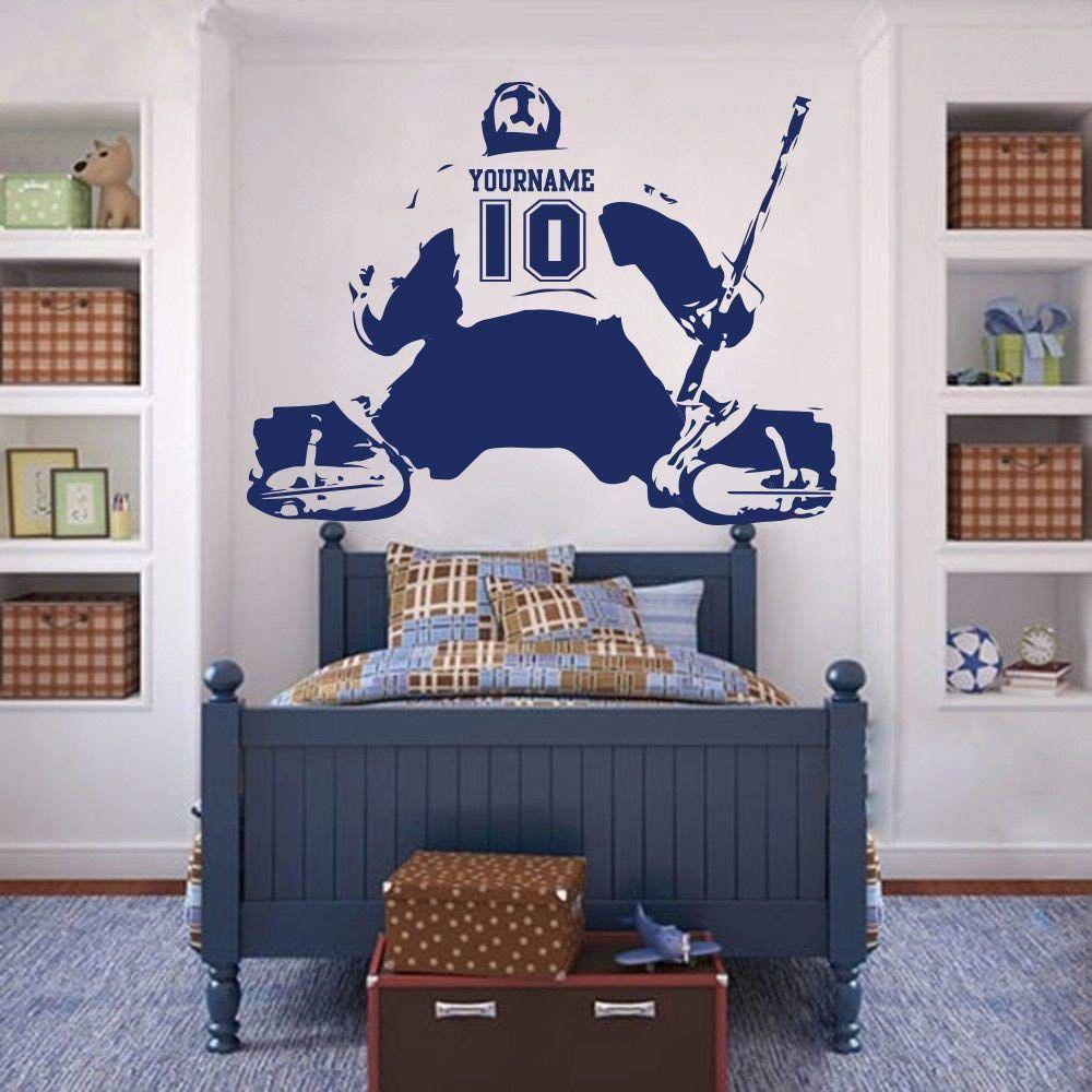 Hockey Goalie Wall Decal Custom Name Number Ice Hockey